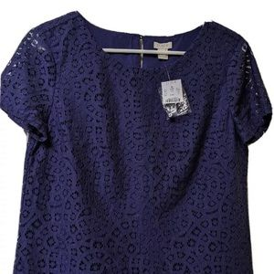 JCrew Navy Lace Blouse Size 10 NWT